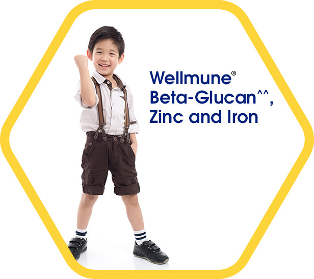 Wellmune, Beta-Glucan^^, Zinc and Iron - a smililing boy standing and raising his fist in triump