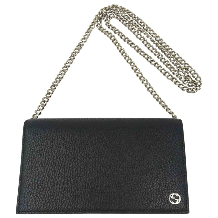 Gucci Beatty Leather Wallet on Chain black