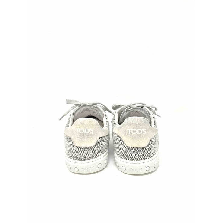 Tods sneakers off white black gray tweed suede