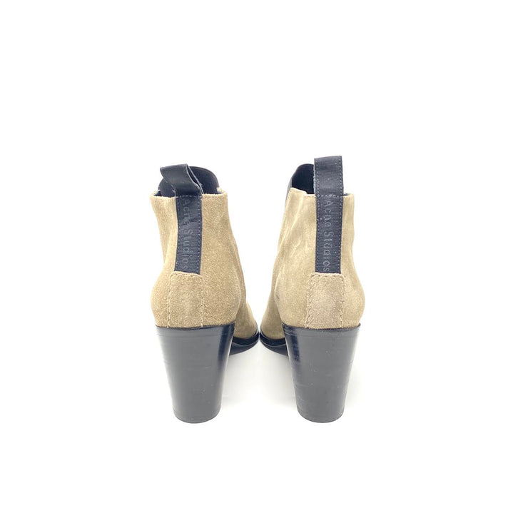 Acne Studios Suede Pointed-Toe Booties Elastic Tape Consignment Shop From Runway With Love