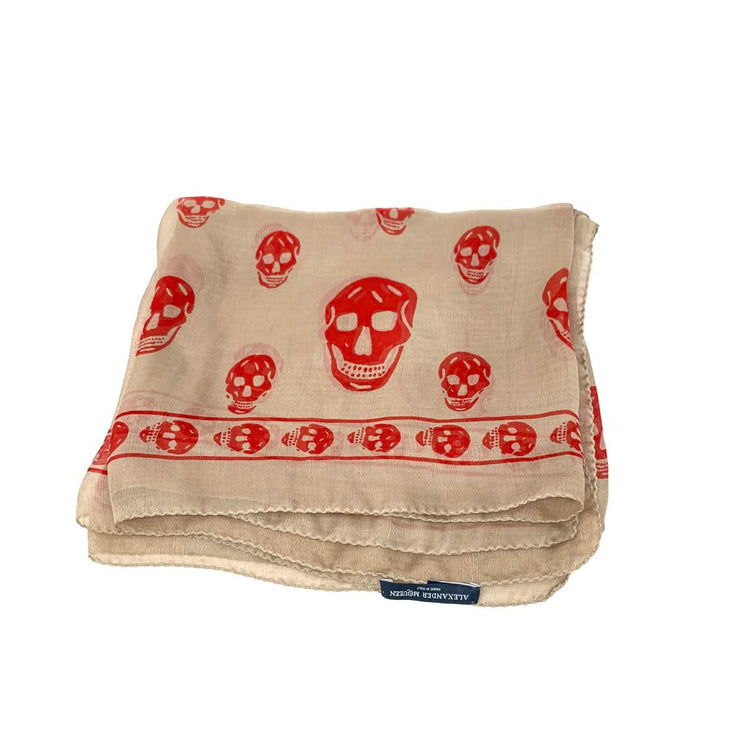 Alexander McQueen Silk Skull Scarf Designer Consignment From Runway With Love