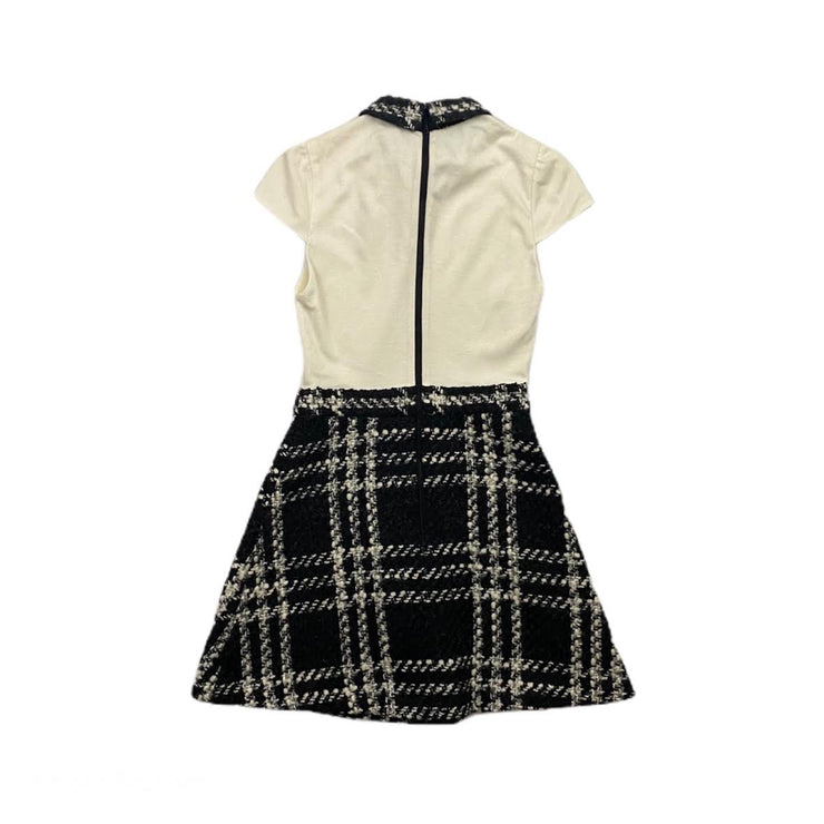 Alice + Olivia Short Sleeve Mini Dress bow tweed velvet consignment shop from runway with love