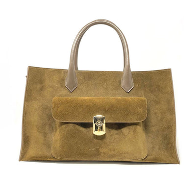 Balenciaga Suede Padlock Work Satchel Brown Gold Handbag Consignment Shop From Runway With Love