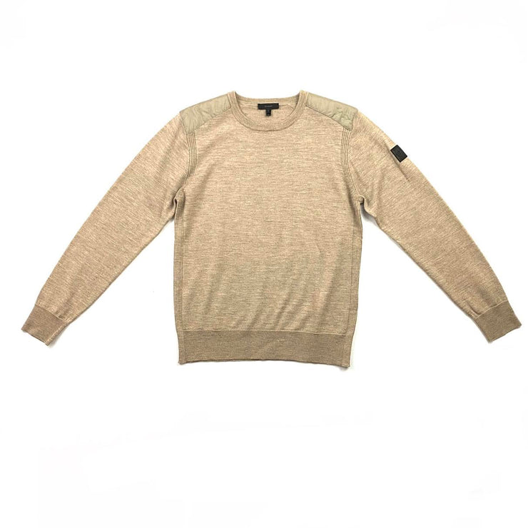 Belstaff Crew Neck Rib Knit Sweater Beige Consignment Shop From Runway With Love