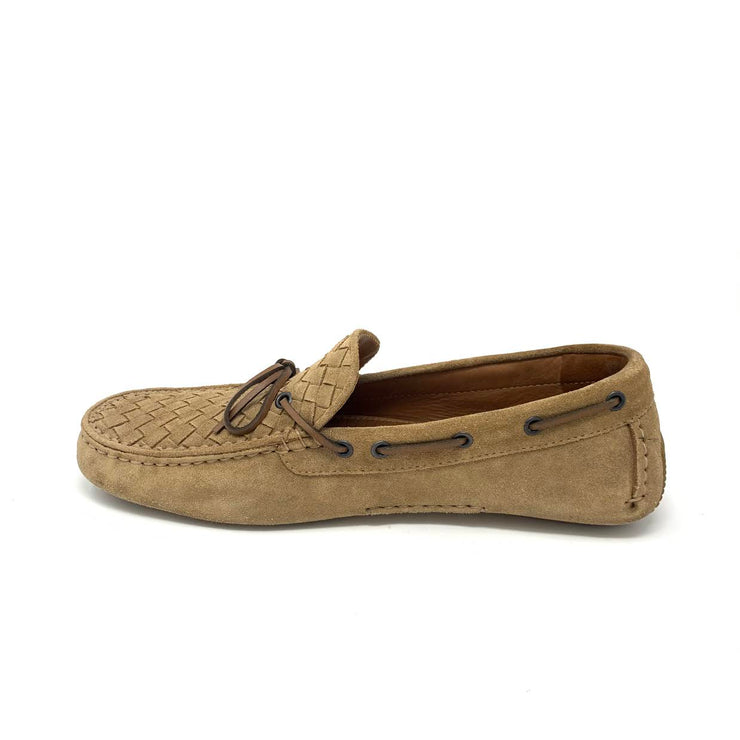 Men's Bottega Veneta Tan Intrecciato Suede Loafers Designer Consignment From Runway With Love