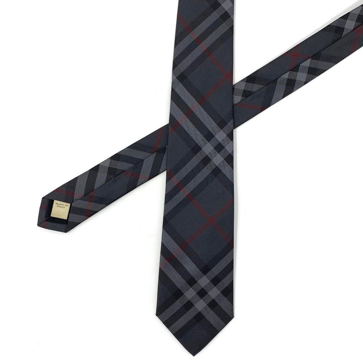 Burberry Silk Check Print Tie Dark Charcoal Gray Consignment Shop From Runway With Love