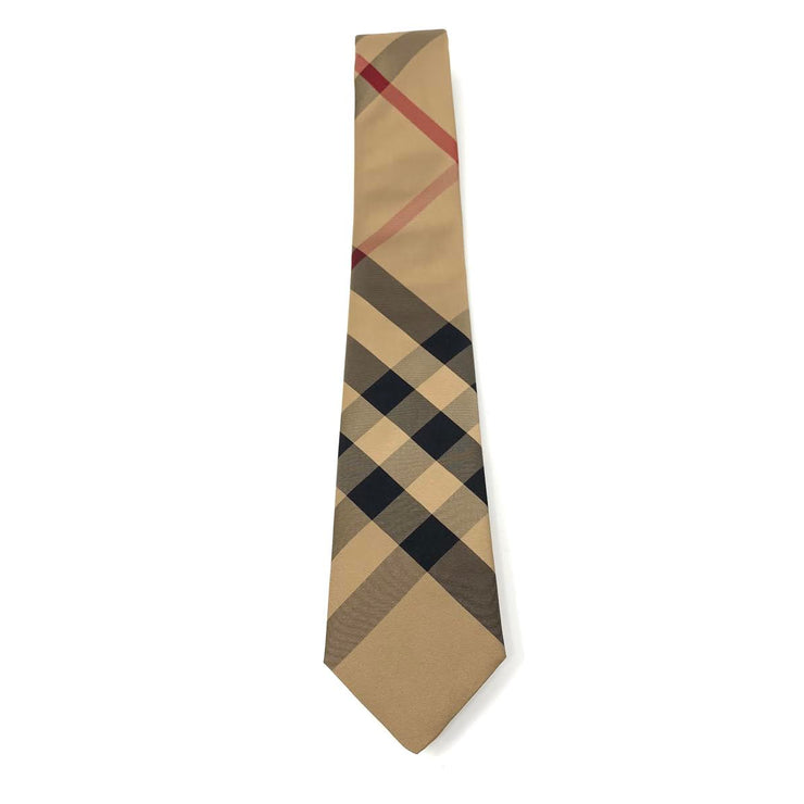 Burberry Silk Check Print Tie Camel Brown Nova Check Consignment Shop From Runway With Love