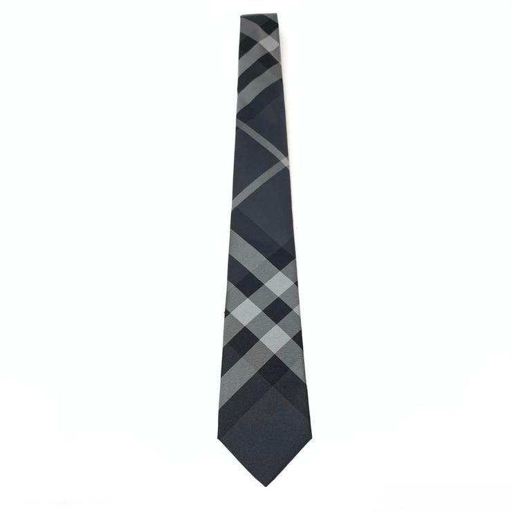 Burberry Silk Nova-Check Print Mens Tie Gray Consignment Shop From Runway With Love