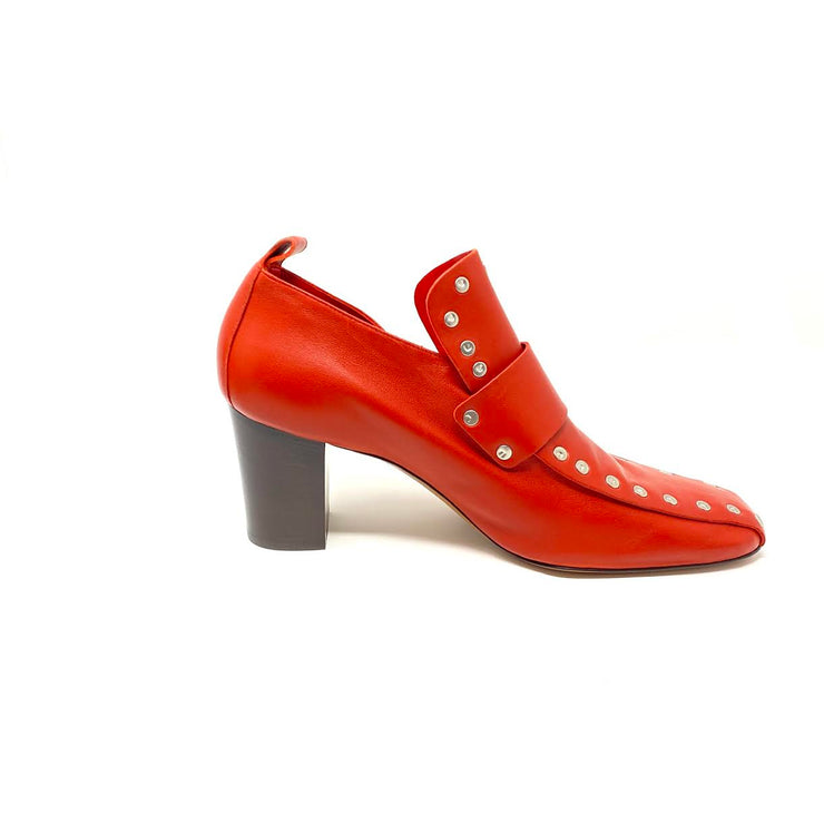 Celine Red Leather Studded Heels Pumps Phoebe Philo Consignment Shop From Runway With Love