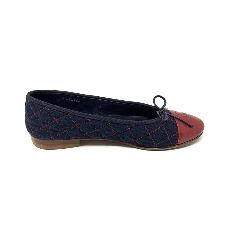 Chanel Cap-Toe Ballet Flats Blue Red Leather Denim Consignment Shop From Runway With Love