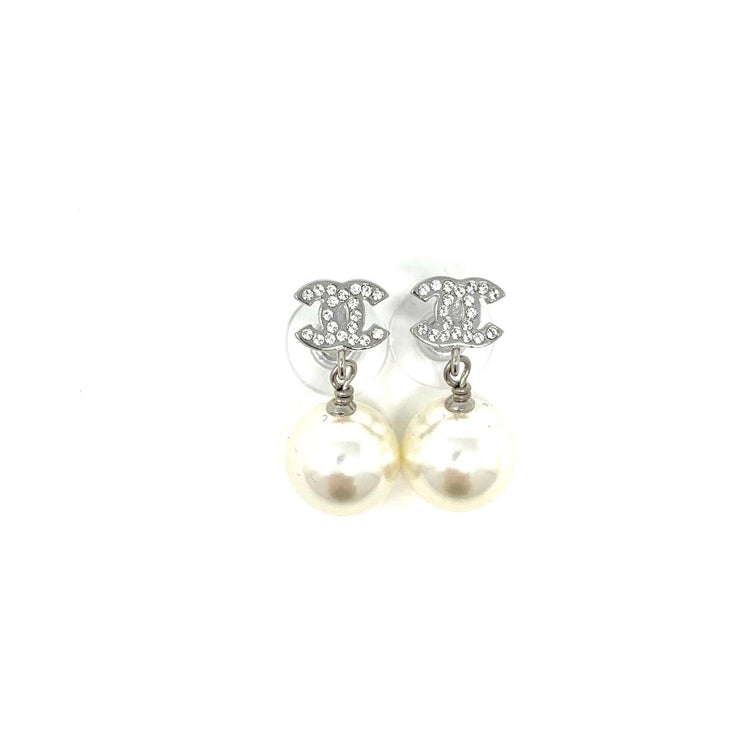 Chanel Faux Pearl Strass CC Drop Earrings Silver Consignment Shop From Runway With Love