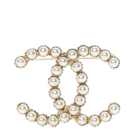 Chanel classic Faux Pearl CC Brooch gold consignment shop from runway with love