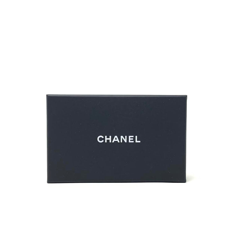 Chanel Quilted CC Card Holder Black Caviar Leather Gold Consignment Shop From Runway With Love