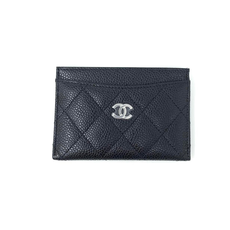 Chanel Caviar Leather Black Quilted CC Card Holder Consignment Shop From Runway With Love