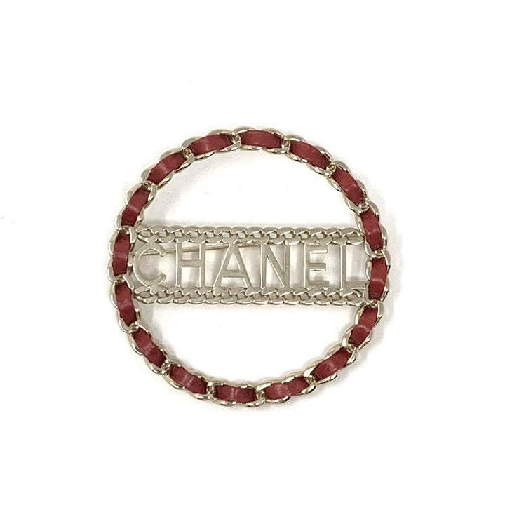 Chanel Woven Leather Chain Brooch Circle Red Silver Consignment Shop From Runway With Love