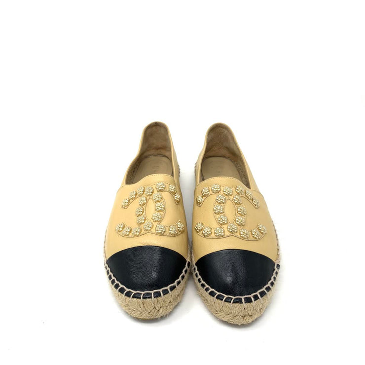 Chanel Espadrilles with gold camellia  Embellishment Designer Consignment From Runway With Love