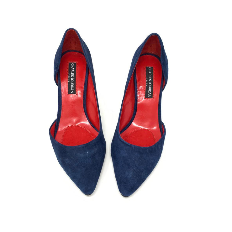 Charles Jourdan Blue Suede Heels designer consignment From Runway With Love Cancer research Charity donation