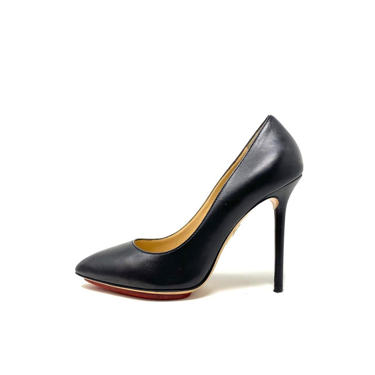 Charlotte Olympia Leather Pointed-Toe Pumps Black Consignment Shop From Runway With Love