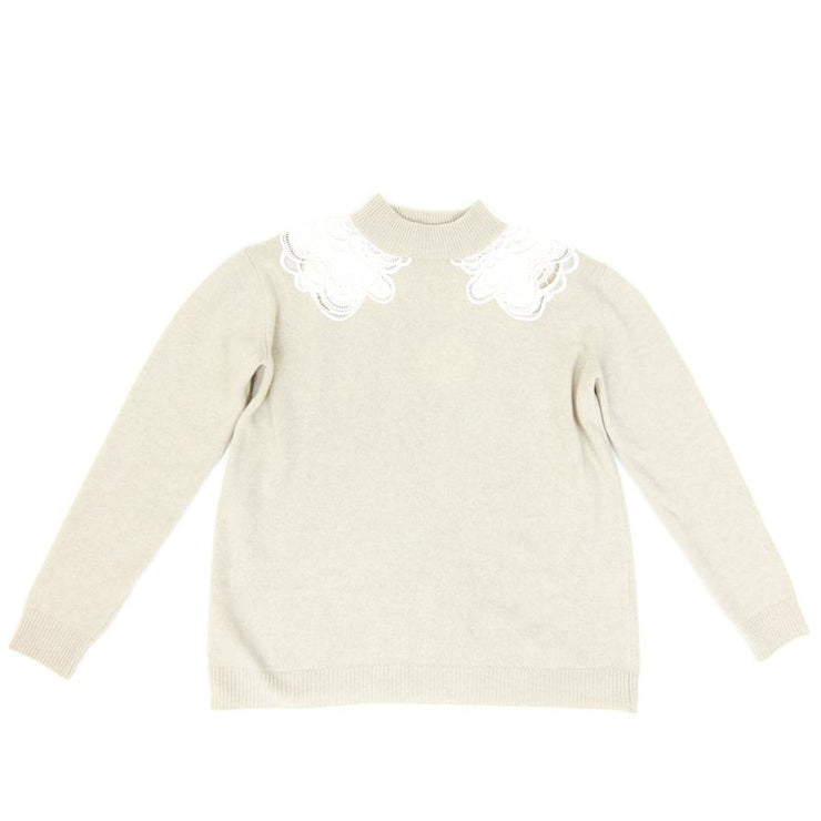 Chloe wool and cashmere sweater with lace detail around the collar