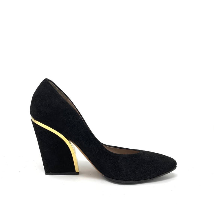 Chloe Black Suede Wedges with Gold Trim Designer Consignment From Runway With Love