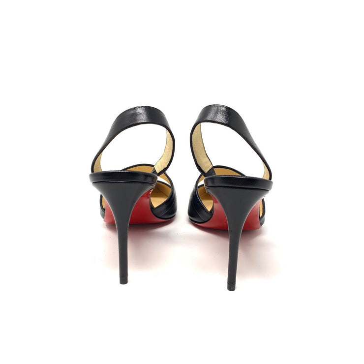 Christian Louboutin Actina 85 Slingback Pumps Black Red Leather Consignment shop From Runway With Love