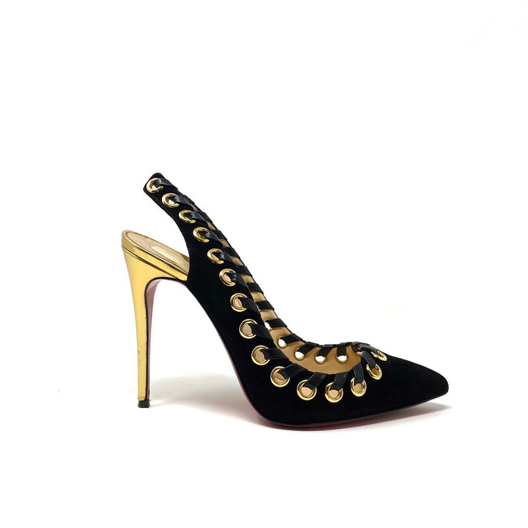 Christian Louboutin Ostri Slingback Pumps Black Gold Suede Consignment Shop From Runway With Love