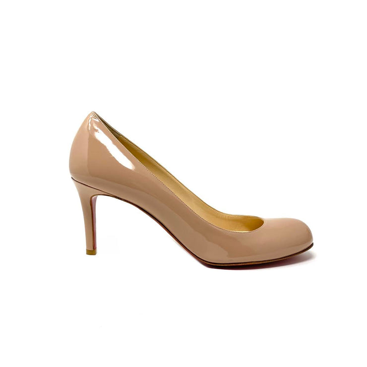 Christian Louboutin Simple Patent Leather Pumps Nude Beige Consignment Shop From Runway With Love