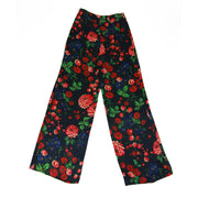 Club Monaco Ahnn high waisted pants in black with multi colored floral print.
