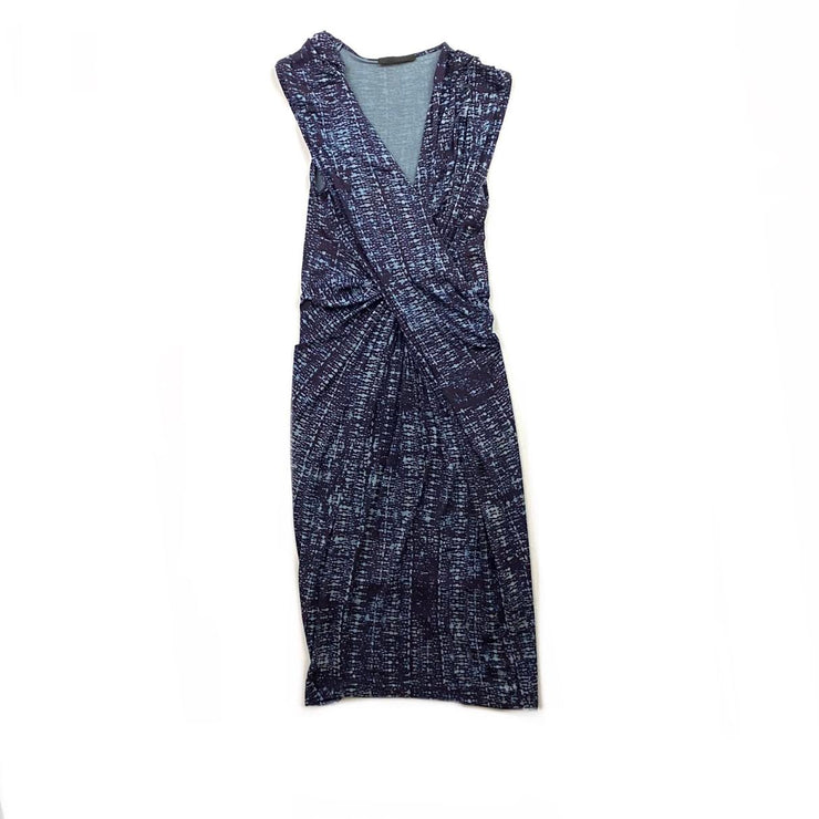 Donna Karan Dress Rouching Purple Blue Consignment Shop From Runway With Love