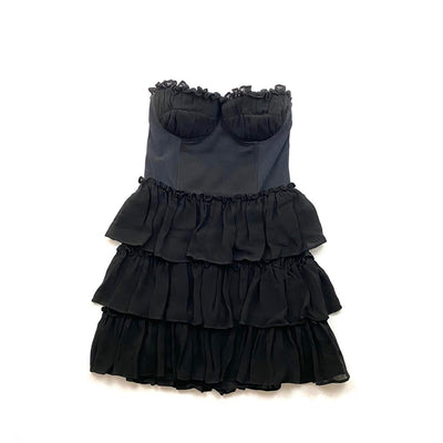 Elizabeth and James Strapless Mini Dress  Black Bustier Consignment Shop From Runway With Love