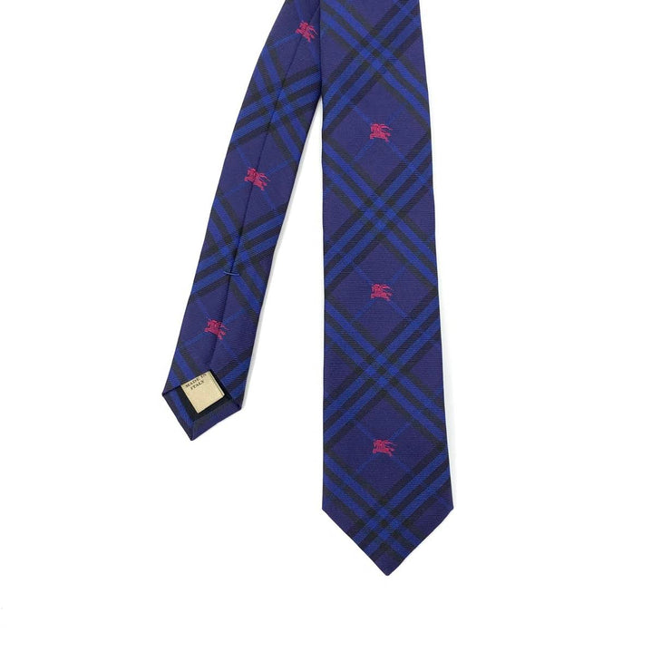 Burberry Equestrian Knight Nova Check Silk Tie Blue Consignment shop from runway with love