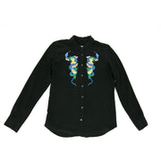 Equipment silk button down blouse with embroidered snake and floral detail