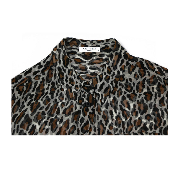 Equipment Silk Blouse with Leopard Print