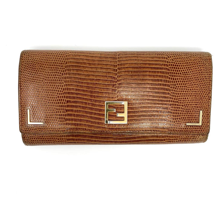 Fendi Snakeskin Wallet Brown