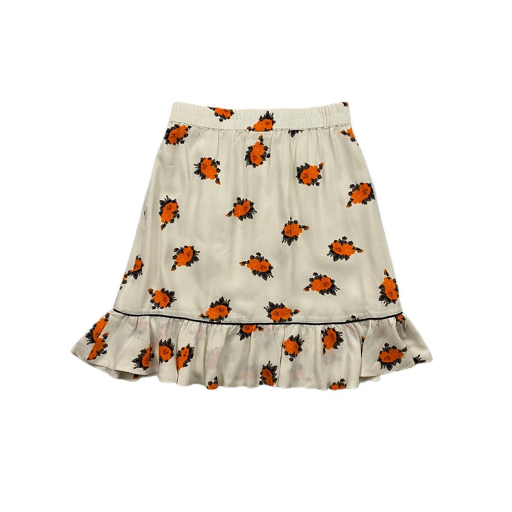 Ganni Ruffled Floral Print Mini Skirt White Orange Consignment Shop From Runway With Love