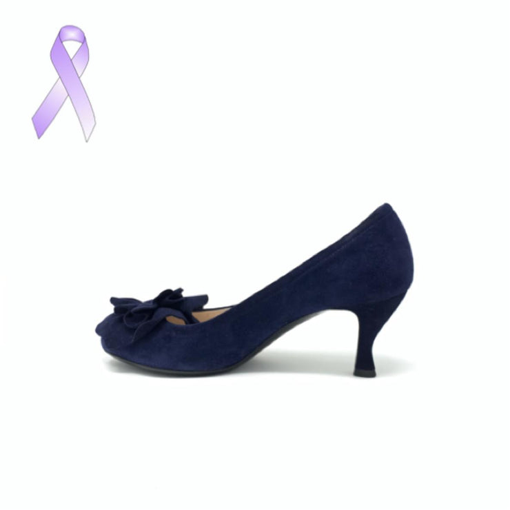 Giorgio Armani Blue Suede Heels designer consignment From Runway With Love Cancer research Charity donation