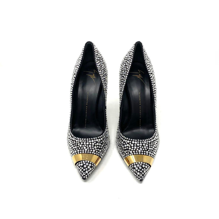 Giuseppe Zanotti Crystal Embellished Pumps Suede Black Silver Consignment Shop From Runway With Love