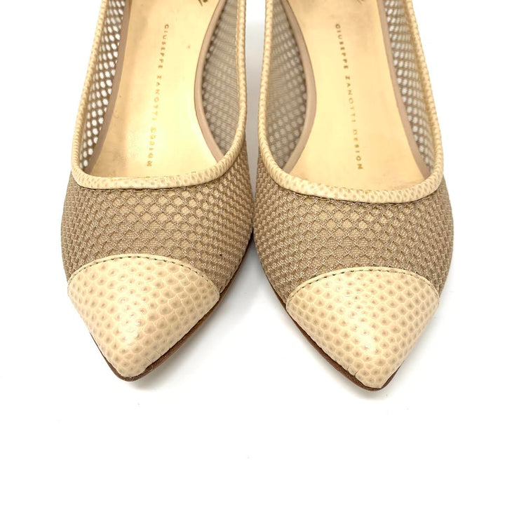 Giuseppe Zanotti Beige Mesh Leather Heels designer consignment From Runway With Love Cancer research Charity donation