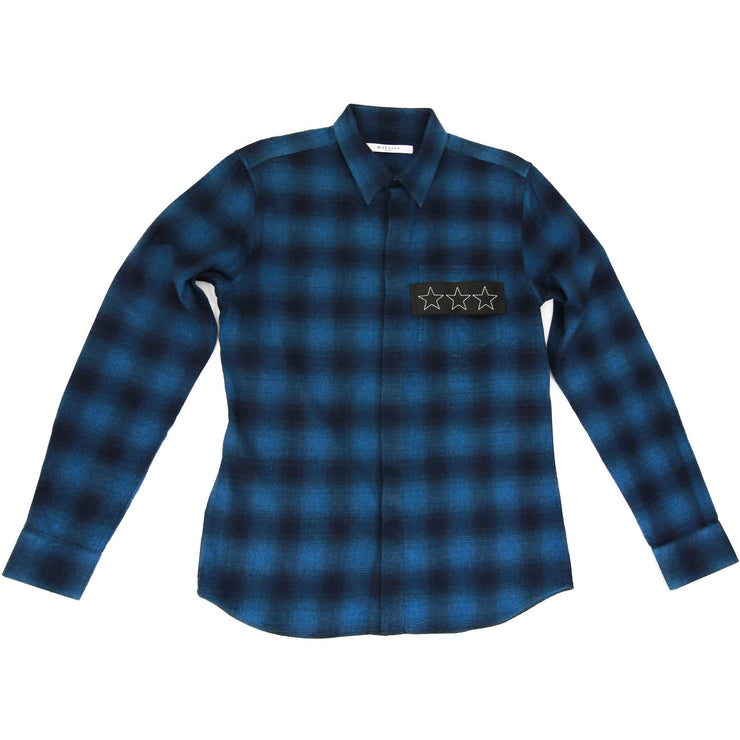 Givenchy Plaid Button Down Shirt in Blue
