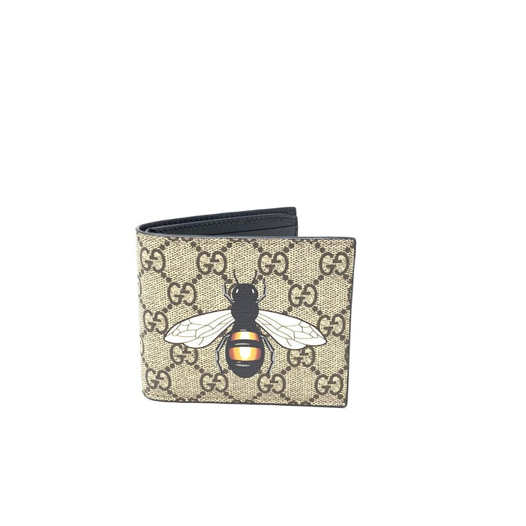 Gucci Bee Print GG Supreme Wallet Canvas Brown Consignment Shop From Runway With Love
