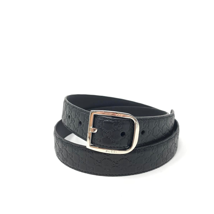 Gucci Black Guccissima Leather Belt Silver Buckle Consignment Shop From Runway With Love