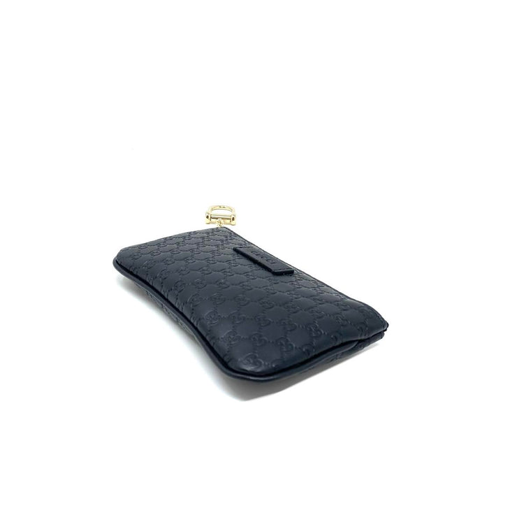 black Microguccissima leather Gucci key pouch wallet consignment shop from runway with love