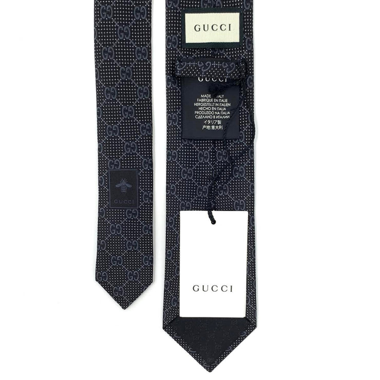 Gucci GG Silk Tie Black Consignment Shop From Runway With Love
