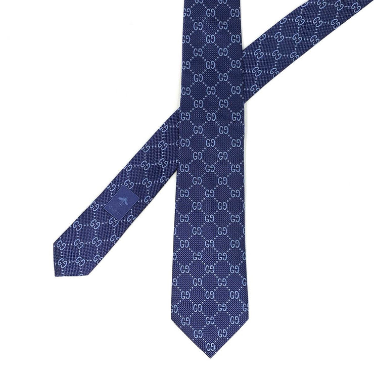 Gucci GG Silk Tie Blue Consignment Shop From Runway With Love