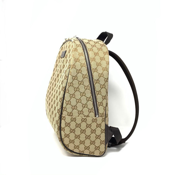 Gucci GG Supreme Backpack Brown Beige Canvas Consignment Shop From Runway With Love