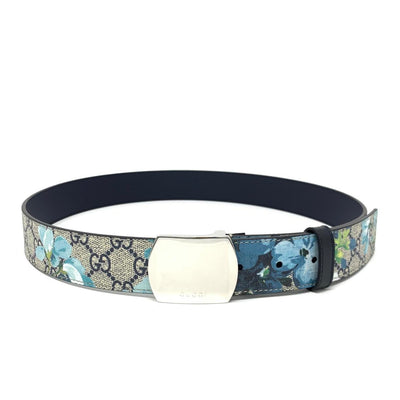 Gucci GG Supreme Blooms Belt Canvas Blue Silver Consignment Shop From Runway With Love