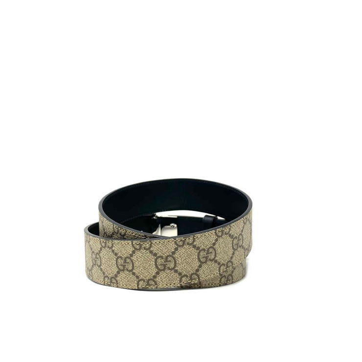 Gucci GG Supreme reversible Belt Interlocking G Designer Consignment From Runway With Love