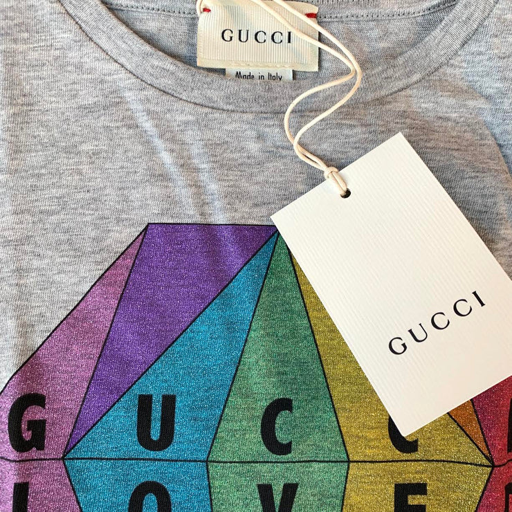Gucci Girls Gray Cotton T-Shirt Loved Diamond Sparkle Consignment Shop Kids Children From Runway With Love