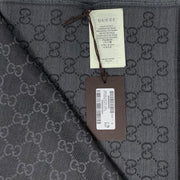 Gucci Wool-Silk Scarf Frayed edges Gray GG Print Consignment Shop From Runway With Love