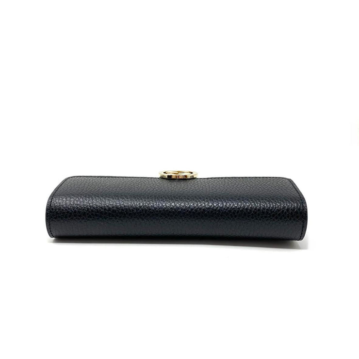 Black leather Gucci continental interlocking gg wallet Consignment Shop From Runway With Love